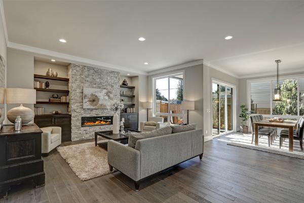 dark wood floor for large spaces