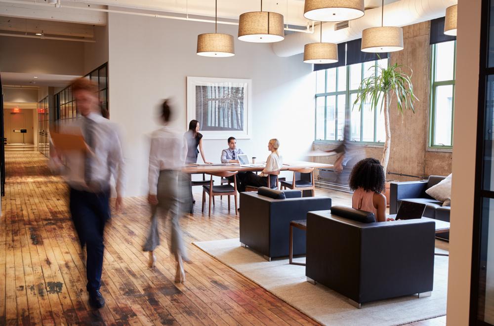 walnut floor in commercial office
